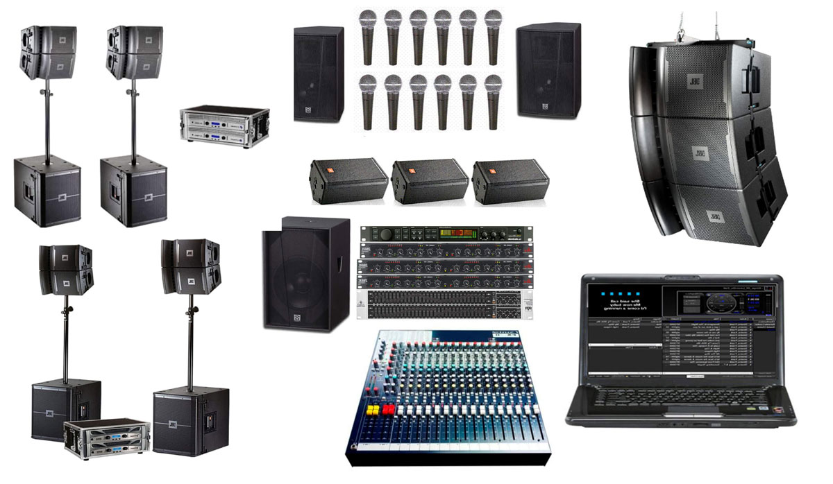 PA-Lautsprecherboxen, Mischpult, Mikrofone.