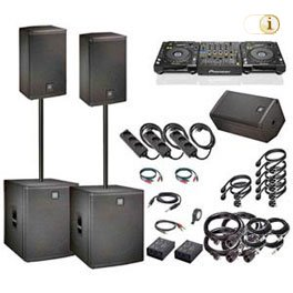 Partyanlage, Lautsprecher-Boxen, DJ-Equipment, Monitorbox.