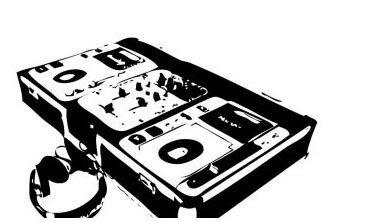 DJing-Anlage mit Kopfhörer.